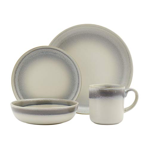 Tabletops Gallery Fashion Dinnerware Collection- Stoneware Dishes Service for 4 Dinner Salad Appitizer Dessert Plate Bowls, 16 Piece Hudson Dinnerware Set with Reactive Glaze