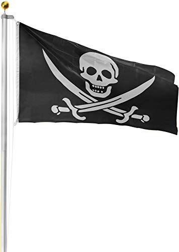 normani Aluminium Fahnenmast 6,20 6,80 oder 7,50 m Höhe inklusive Piratenflagge Totenkopf Fahne (90 x 150 cm) Farbe Totenkopf mit Säbeln Größe 7.50 Meter