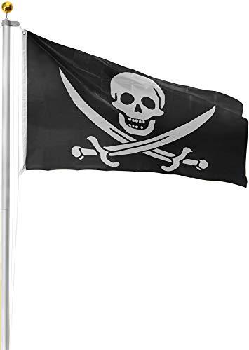 normani Aluminium Fahnenmast 6,20 6,80 oder 7,50 m Höhe inklusive Piratenflagge Totenkopf Fahne (90 x 150 cm) Farbe Totenkopf mit Säbeln Größe 6.50 Meter