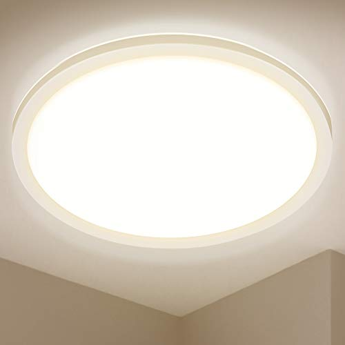 LED Deckenleuchte Rund, BIGHOUSE 24W 2200LM Flach Deckenlampe, 3000K Warmweiß für Badezimmer, Wohnzimmer, Balkon, Flur Küche, Ø420×25mm