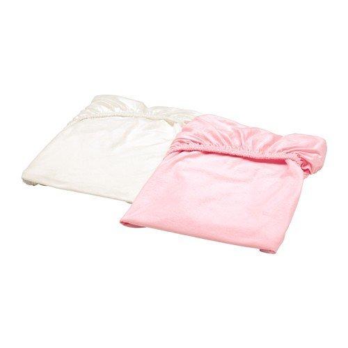 Ikea Len–Sábana bajera para cuna; en blanco y rosa; 100% algodón; (60x 120cm); 2unidades)