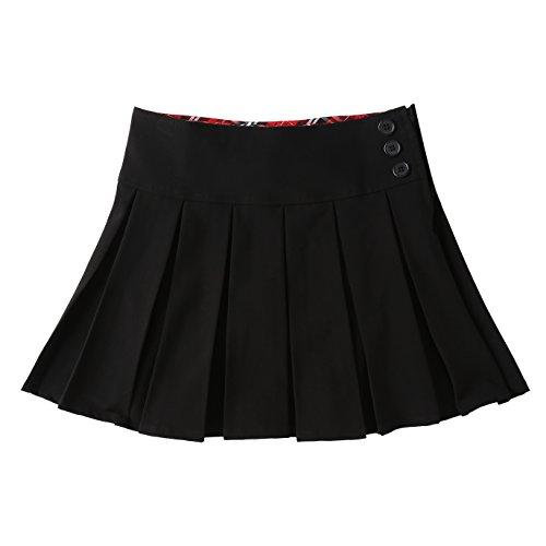 Bienzoe Bienzoe Mädchen Dehnbar Schuluniformen Gefalteter Rock Schwarz Größe 10