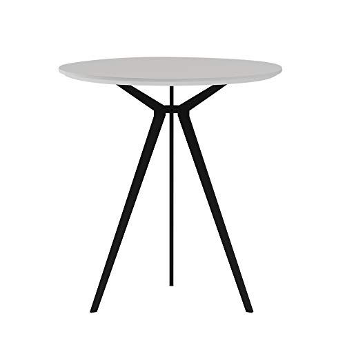 SENGLIDA Runder weißer Tisch, 3-Bein-Küchentisch, Esstisch für das Wohnzimmer im Büro, wasserdichter und kratzfester Schreibtisch, einfache Montage, 70 * 75 cm