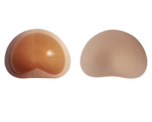 1Pair Gelm Foam Self-adhesive Invisible Bra Inserts Breast Chest Swimsuit Pads Enhancers Push-up Molding Pad for Bikini (Beige)