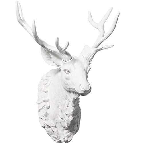 JYTBD Yun Tao Cabeza de los Ciervos Animales decoración de la Pared Blanco Pendiente de Bronce Resina 3D 26 * 28 * 48cm estatuas (Color: Blanco) (Color : White)