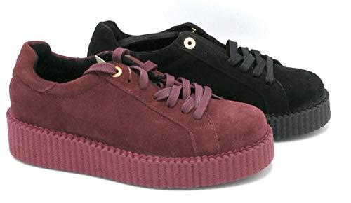 sneakers donna ovye Ovy IP Claudia Sneakers Crosta Nero Cremisi con Lacci - Taglia Scarpa 38 Colore Cremisi