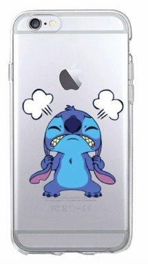 TN CASES STORE Coque iPhone 7 et iPhone 8 Stitch Pas Content Bleu Silicone Souple Transparent