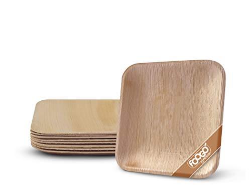 FOOGO Green 25 Platos de hoja de palma Desechable|15cm Plato de postre Cuadrado|Vajilla Ecológico Biodegradable|Como platos de bambu,Platos de plástico,Platos papel|Para la Fiesta de Bodas,Camping