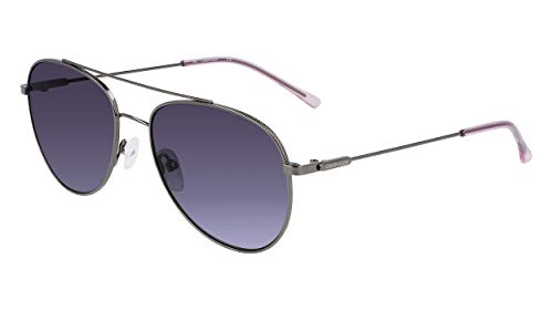 Calvin Klein Women's CK20120S Round Sunglasses, Gunmetal, 55/18/145