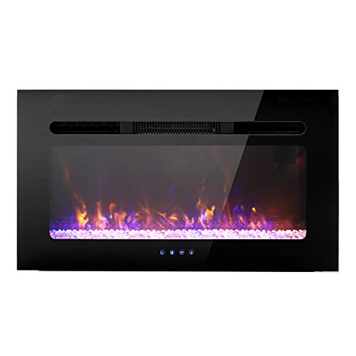 """Sophia & William 30"""" Electric Fireplace Recessed and Wall Mounted, Noiseless Electric Heater with Remote Control & Touch Screen for 2 x 6 Stud, Flame Color & Speed Adjustable"""