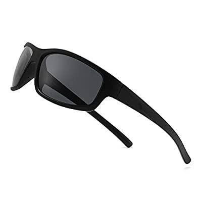 SUNGAIT Polarized Sports Sunglasses For men Unbreakable UV protection Rectangular Glasses (Black Frame(matte Finish)/Polarized Grey Lens) K077SHKHU