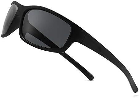 SUNGAIT Polarized Sports Sunglasses For men Unbreakable UV protection Rectangular Glasses Black product image