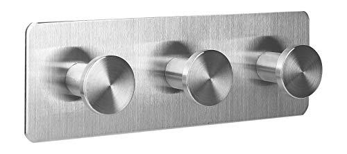 Ambrosya® | Exclusivo toallero autoadhesivo de acero inoxidable | Cuarto de baño Paño cocina Sostenedor Toalla Gancho de la capa del estante (Acero inoxidable (Cepillado), 1 x 3)