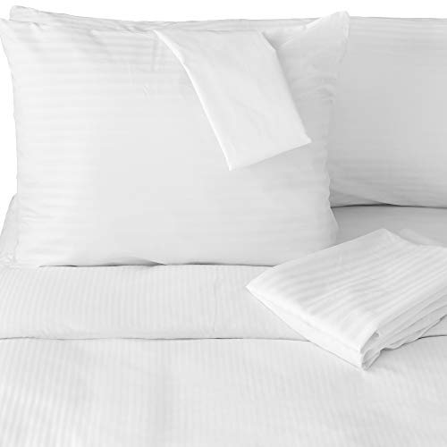 FeelAtHome 100% Cotton Pillow Protector with Zipper Waterproof Covers (Pack of 2, Standard) - Noiseless, Anti Bed Bug & Dustmite Pillowcase Encasement - Hypoallergenic Zippered Pillow Case Protectors