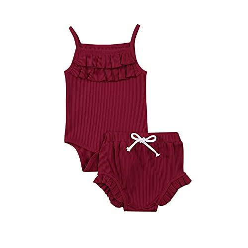 Bebé recién nacido bebé verano ropa de color sólido sin mangas cuello cuadrado Sling mameluco+cordón pantalones cortos