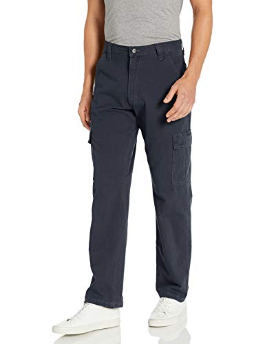 Wrangler Authentics Men's Big & Tall Classic Twill Relaxed Fit Cargo Pant, Navy Ripstop, 44 x 32