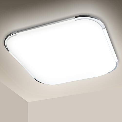 Hengda Plafoniera LED Lampada a Soffitto 24W Bagno Luce Bianco Freddo 6500K Impermeabile IP44 per cucina camera da letto cantina ufficio Corridoio