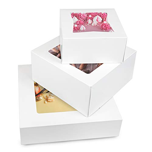 "[36 Pack] Bakery Box with Window 6"", 8"" and 10"" - White Cardboard Gift Packaging for Cake, Pie, Cupcake, Cookies and Pastry, Auto-Pop Restaurant Containers and Personalized Favors, 12 of Each"