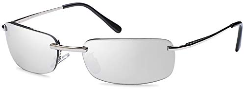 Balinco Rechteckige Herren Sonnenbrille mit Federscharnier Sunglasses Sportbrille Matrix Rad Brille Radbrille Sport (Silver)