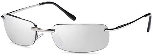 Balinco High Quality Rechteckige Herren Sonnenbrille mit Federscharnier Sunglasses Sportbrille Matrix Rad Brille Radbrille Sport (Silver)