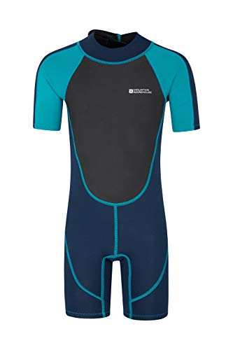Mountain Warehouse Junior kurzer Kinder-Neoprenanzug -Körper: 2.5mm, Sommer-Nasstaucheranzug, Leichtlauf-Reißverschluss, Flachnähte, Verstellbarer Nacken Blaugrün 3-4 Jahre