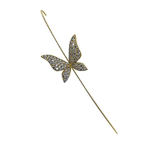 Stud Stick on Earrings for women,Women Shiny Butterfly Piercing Surrounds Auricle-Style Line Earring,Alloy Earrings Piercing Hypoallergenic