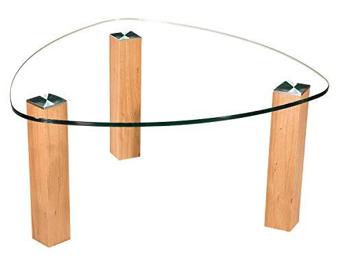 tischdesign24 Lindau61518-A Couchtisch mit 12mm Glasplatte in Wankelform. Gestell mit Rollen. Tischplatte 90x90cm Wankelform Klarglas - ohne Ablage Gestell: Wildeiche Gestell 80x80mm - 49cm Höhe
