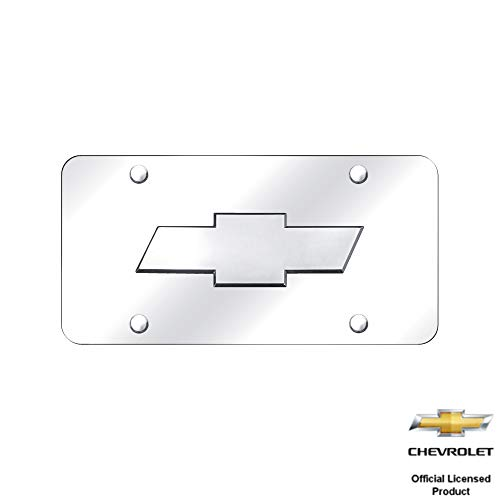 Au-Tomotive Gold, INC. Silver Chevy Logo Front License Plate Frame Mirror Stainless Steel 3D CHEVROLET