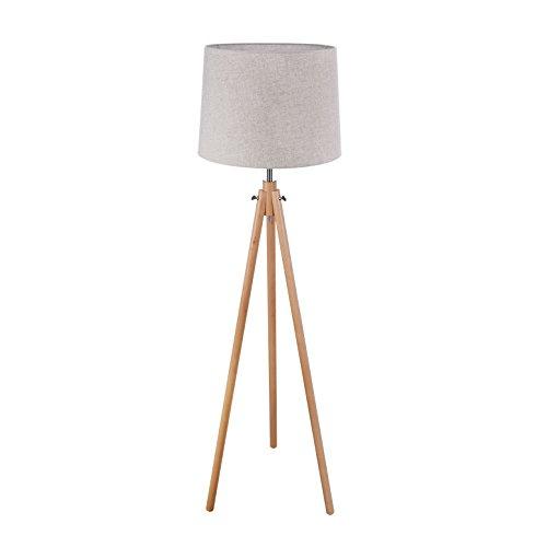 Lampadaire, luminaire, torchère, style Moderne, Art Deco, Armature en Métal couleur chrome et en bois, Abat-jour en tissu couleur beige, ampoule non inclu E27 60W 220V