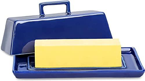 Cokpapa Butterdose aus Keramik mit Deckel, marineblauer Butterhalter mit Griffabdeckung, mikrowellen- und spülmaschinenfest