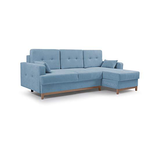 MOEBLO Ecksofa mit Schlaffunktion Eckcouch mit 2 X Bettkasten Sofa Couch L-Form Polsterecke Sophie (Blau, Ecksofa Rechts)