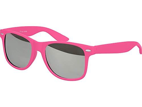 Balinco Hochwertige Nerd Sonnenbrille Rubber im Retro Stil Vintage Unisex Brille mit Federscharnier - 96 verschiedene Farben/Modelle wählbar (Pink - Silber verspiegelt)