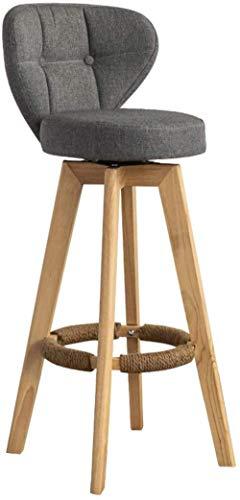 NYDZ Taburetes de barra de altura para mostrador, tapizado en tela moderna, silla con respaldo bajo y patas de madera para comedor, cocina, barra de mostrador, asiento gris