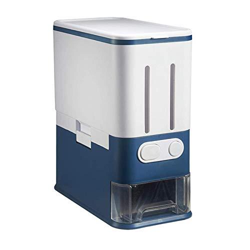 MagiDeal Automatische Reis Lagerung Container 22Lbs Luftdichten Reis Eimer Getreide Lagerung Bin Getreide Dispenser Container, 10kg Kapazität - Blue No Divide