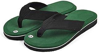Summer Fashion Men's flip flops Beach Sandals for Men Flat Slippers non-slip Shoes plus size Leisure Soft Massage Slides Thongs (Color : Green, Shoe Size : 10)