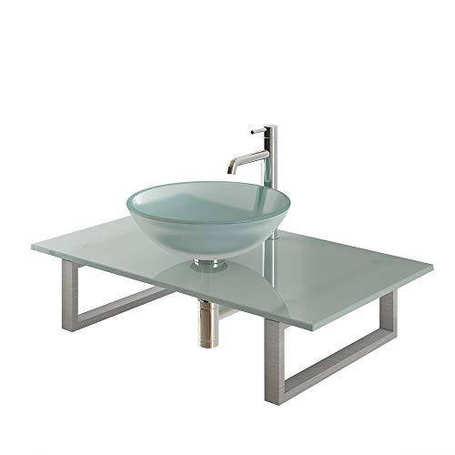 Alpenberger Top Design Handwastafel Ø 42 cm van hoogwaardig veiligheidsglas incl. steunconsole en glasplaat 90 cm | Gesatineerde opzetwastafel uitgieten wastafel perfect voor de badkamer