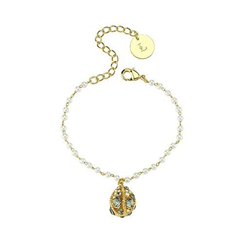 Luzdemia Cadena de latón y perlas de plástico, longitud: 17 cm, extensión: 3 cm pulsera de nueva temporada