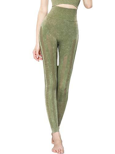 WOWENY Leggings Deporte Mujer Yoga Pantalones Mallas sin Costuras de Malla Cintura...