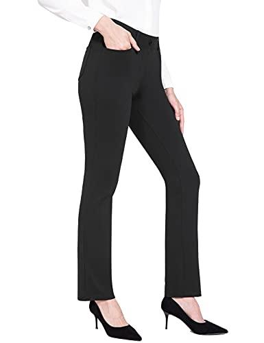 "BALEAF Women's Yoga Dress Pants Stretch Work Business Slacks Straight Leg Belt Loops Trousers with Pockets 31"" Black XL"