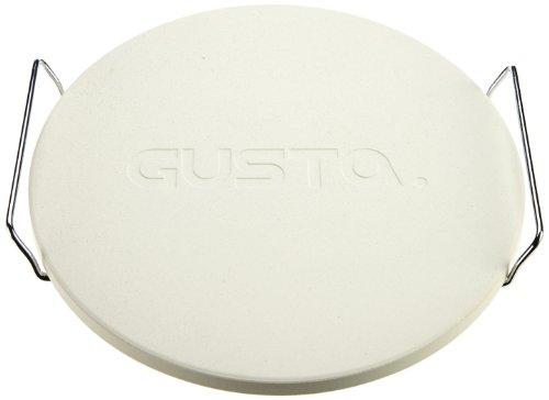 Gusta 33 cm pizzasteen met houder, wit