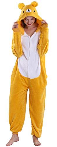 Yimidear® Unisex Cálido Pijamas para Adultos Cosplay Animales de Vestuario Ropa de Dormir Halloween y Navidad(S, Oso)