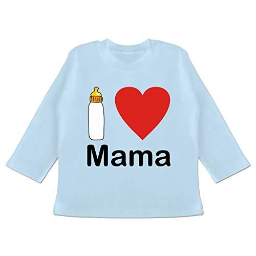 Zur Geburt - I Love Mama Nuckelflasche - 18/24 Monate - Babyblau - Fun - BZ11 - Baby T-Shirt Langarm
