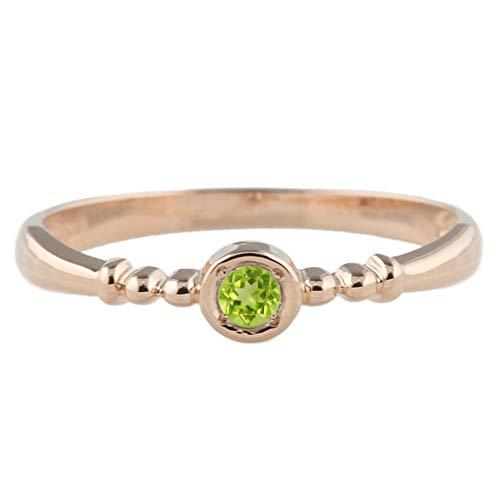 (リュイール)Luire ペリドット 8月 リング 一粒 カラーストーン 指輪 誕生石 チョコ留め シンプル 18金 k18ピンクゴールド サイズ 7号