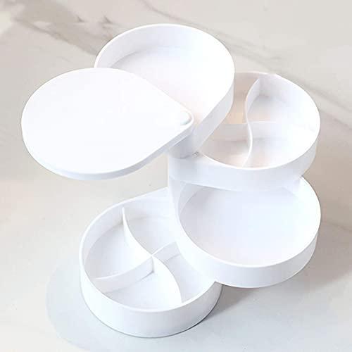 GDSKL Caja de Almacenamiento de Joyas Caja de Pulsera Caja de Joyería Collar de Múltiples Capas Giratorio Pendiente Rotación de 360 Grados 4 Capas Mujer,Blanco
