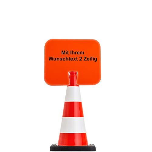 UvV Flex Leitkegel 50 oder 75cm orange inkl. 1x Aufsteckschild mit Wunschtext z.B. Bitte Abstand halten (50 cm)