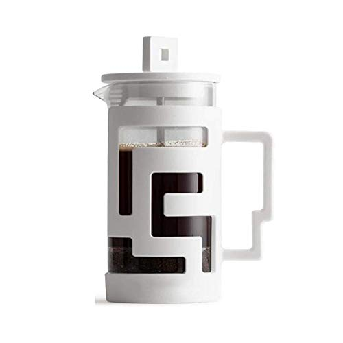 LKNJLL Cold Brew Coffee Maker – Glass Carafe & Stainless Steel Mesh Filter – Compact, Portable Cold Brew Iced Coffee Maker & Tea Infuser – Best for Coarse, Ground Coffee (Color : White)