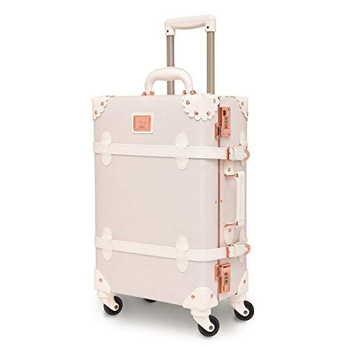"""可愛い スーツケース クラシック トランク トランクケース ホワイト 白 キャリーケース かわいい 子供 女の子 (バラの白, 26"""")"""