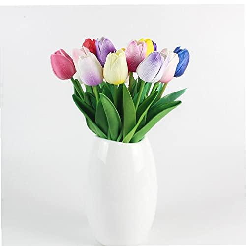 Flores artificiales, látex material de simulación flores de los tulipanes, tulipanes tacto verdadero artificial para la boda, hogar, oficina, partido, hotel travesaño de la ventana Decoración, rosa
