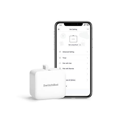 SwitchBot allume et éteint mécaniquement tout interrupteur et bouton, minuteur programmable, contrôlés par l'application, avec une base Hub Compatible avec Alexa, Google Assistant et IFTTT (Blanc)