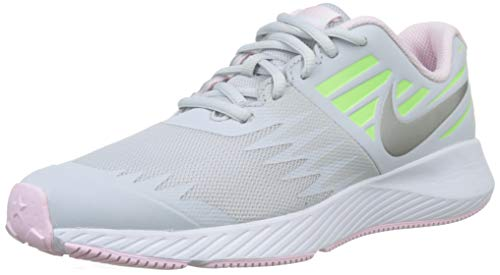 Nike Girls Star Runner (GS) Running, Chaussures garçon, Gris (Pure Platinum/Metallic Silver/Lime Blast 005), 35.5 EU